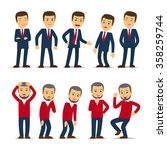 businessman emotions vector | Shutterstock .eps vector #358259744