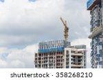 working crane on a modern... | Shutterstock . vector #358268210