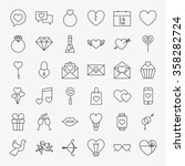 valentine day line icons big... | Shutterstock .eps vector #358282724