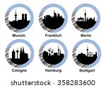 vector icon set with skyline of ...