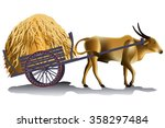 hayrick in the buffalo cart... | Shutterstock .eps vector #358297484