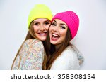 cute positive portrait of best... | Shutterstock . vector #358308134