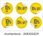 10 percent off yellow paper... | Shutterstock .eps vector #358320329