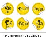 45 percent off yellow paper... | Shutterstock .eps vector #358320350