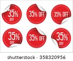 35 percent off red paper sale... | Shutterstock .eps vector #358320956