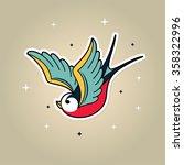 old school tattoo swallow.... | Shutterstock .eps vector #358322996