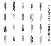 Set of simple wheat ears icons