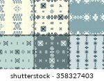 blue vector aztec seamless... | Shutterstock .eps vector #358327403