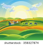 summer sunrise landscape with