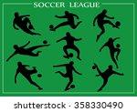 soccer silhouettes  | Shutterstock .eps vector #358330490