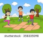 children playing hopscotch at... | Shutterstock . vector #358335098