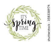 words spring with wreath.... | Shutterstock .eps vector #358338974