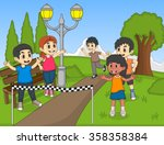 children running in park... | Shutterstock .eps vector #358358384