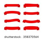 set of red ribbon banners.... | Shutterstock .eps vector #358370564
