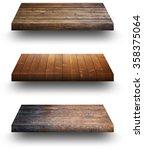 wooden shelves on white   Shutterstock . vector #358375064