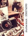 old retro vintage camera  toy...   Shutterstock . vector #358376090