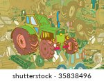 hand-drawn background - set of various tractors - stock vector