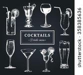 cocktails menu. hand sketched... | Shutterstock .eps vector #358385636