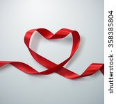 red ribbon heart. vector... | Shutterstock .eps vector #358385804