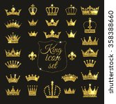 gold crown set. glitters set of ... | Shutterstock .eps vector #358388660