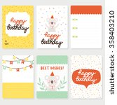 set of six birthday cards ... | Shutterstock .eps vector #358403210