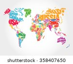 world map in typography word... | Shutterstock . vector #358407650