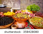 marinated garlic and olives on... | Shutterstock . vector #358428080