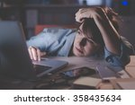 sleepy exhausted woman working... | Shutterstock . vector #358435634