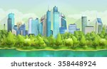 city and nature  vector...