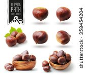 Isolated Chestnut Set With...