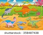 illustration of cute dinosaurs... | Shutterstock .eps vector #358487438