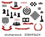 chess game items  icons and... | Shutterstock .eps vector #358493624
