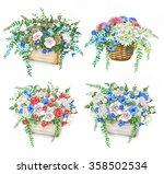 watercolor set of beautiful... | Shutterstock . vector #358502534