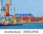port cargo crane over blue sky... | Shutterstock . vector #358513943