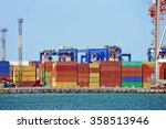 port cargo crane and container... | Shutterstock . vector #358513946