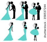 illustration of bride and groom ... | Shutterstock .eps vector #358537244