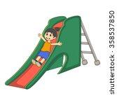 little girl playing on a slide... | Shutterstock . vector #358537850