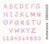 pink watercolor font.    Shutterstock .eps vector #358542323