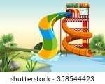 water slide by the river... | Shutterstock .eps vector #358544423