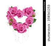 rose heart wreath. vector ... | Shutterstock .eps vector #358561253