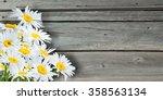 beautiful flowers on wooden... | Shutterstock . vector #358563134