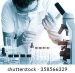 conical flask in scientist hand ... | Shutterstock . vector #358566329