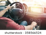 Man Driving Car. Vintage Filte...