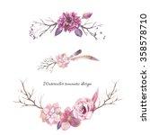 watercolor floral elements... | Shutterstock . vector #358578710