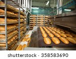 fresh hot baked bread loafs on... | Shutterstock . vector #358583690