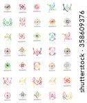 set of vector linear logotypes  ... | Shutterstock .eps vector #358609376