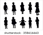 young girls standing silhouette   Shutterstock .eps vector #358616663