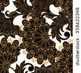 ethnic flowers seamless vector... | Shutterstock .eps vector #358622348