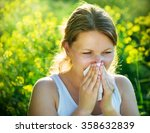 woman suffering from pollen... | Shutterstock . vector #358632839