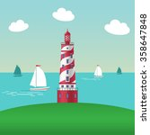 landscape with a lighthouse. ... | Shutterstock .eps vector #358647848